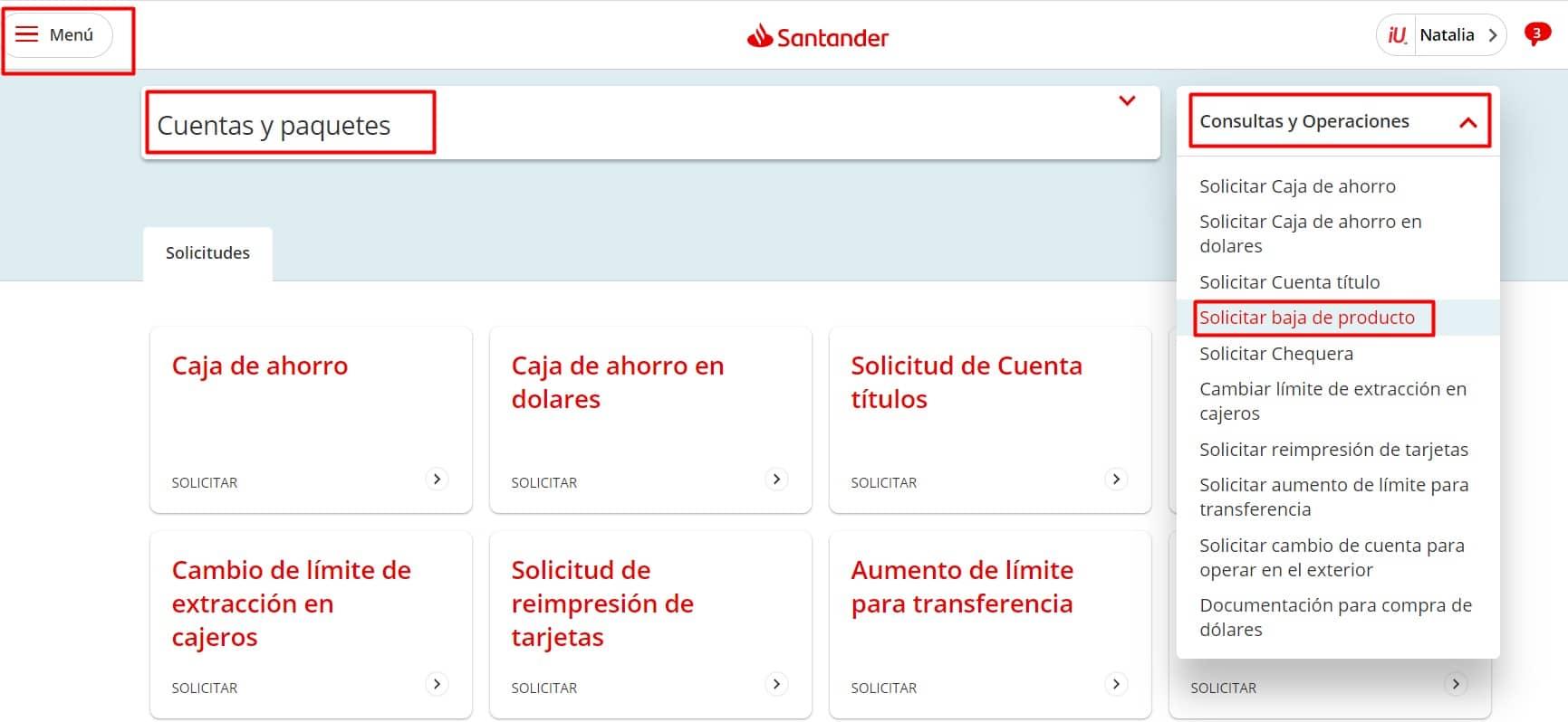 Baja Cuenta Santander