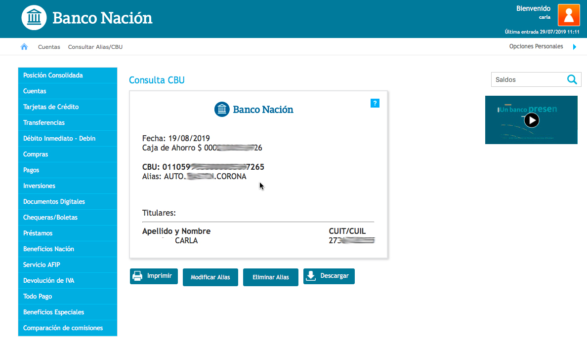 Banco Nacion CBU 2