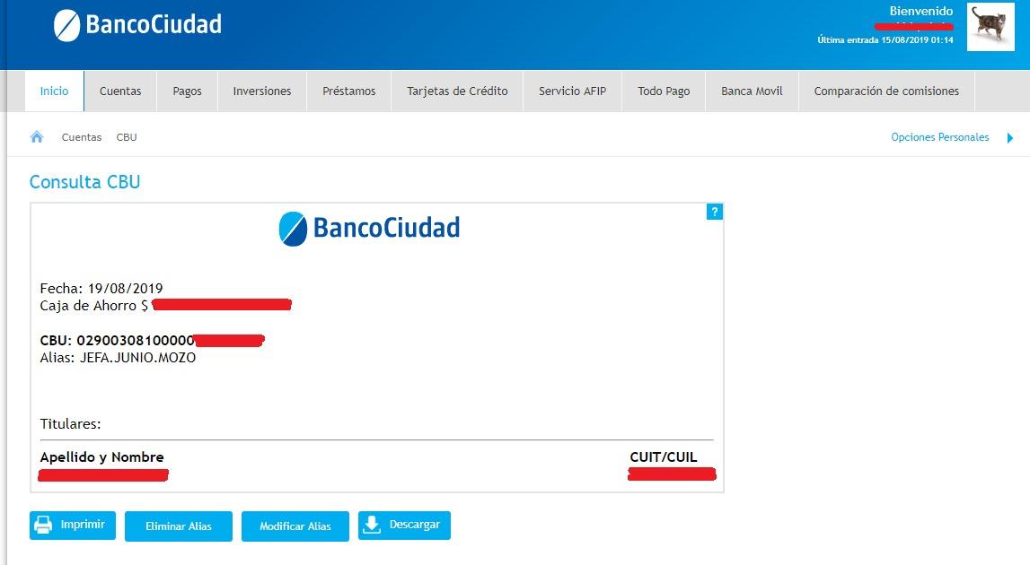 Banco Ciudad CBU