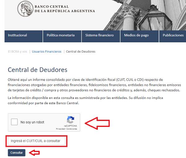 consultar central de deudores bcra