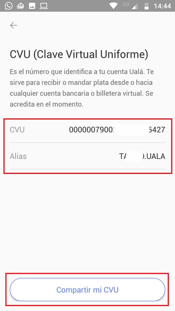 Datos CVU Ualá